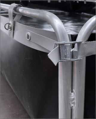 Auffangwanne mit Bügelsystem im Detail